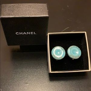 Chanel enamel and gold clip on earnings.